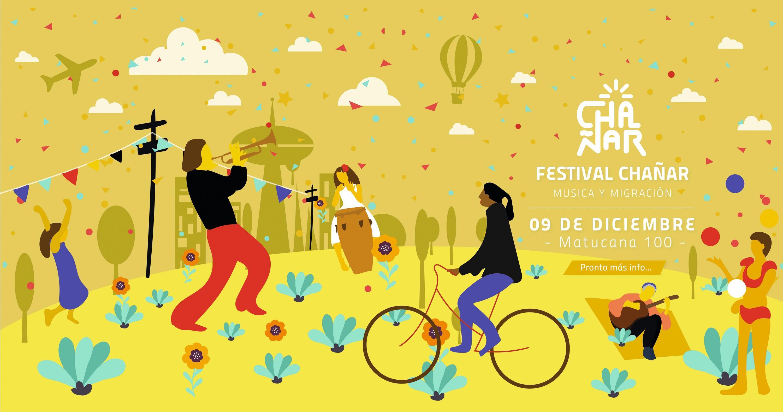 Cartel para el Festival Chañar música y migración, Chile, 2018.
