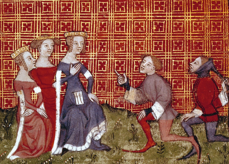 « Amant », enluminure extraite d'un manuscrit du Dit du lion, de Guillaume de Machaut, XIVe siècle, BnF, Paris.