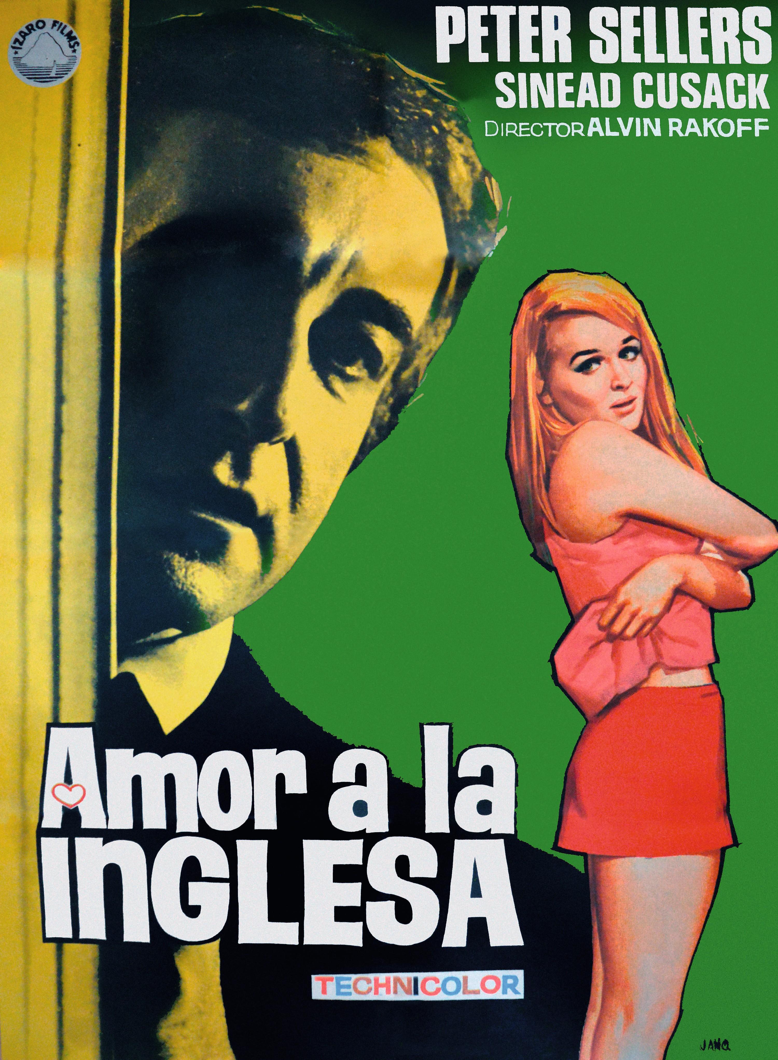 Cartel español para la película Amor a la inglesa,  Alvin Rakoff, 1970.