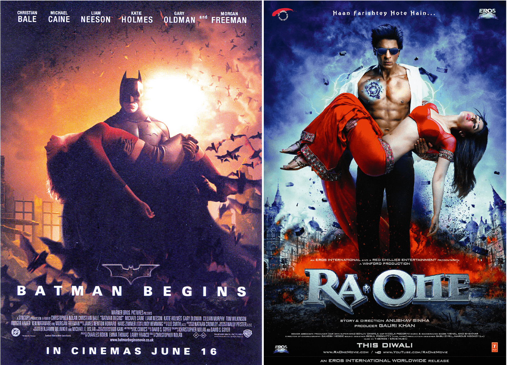 Hollywood and Bollywood twin movie posters: Batman Begins, by Christopher Nolan 2005  and Ra One, by Anubhav Sinha, 2011