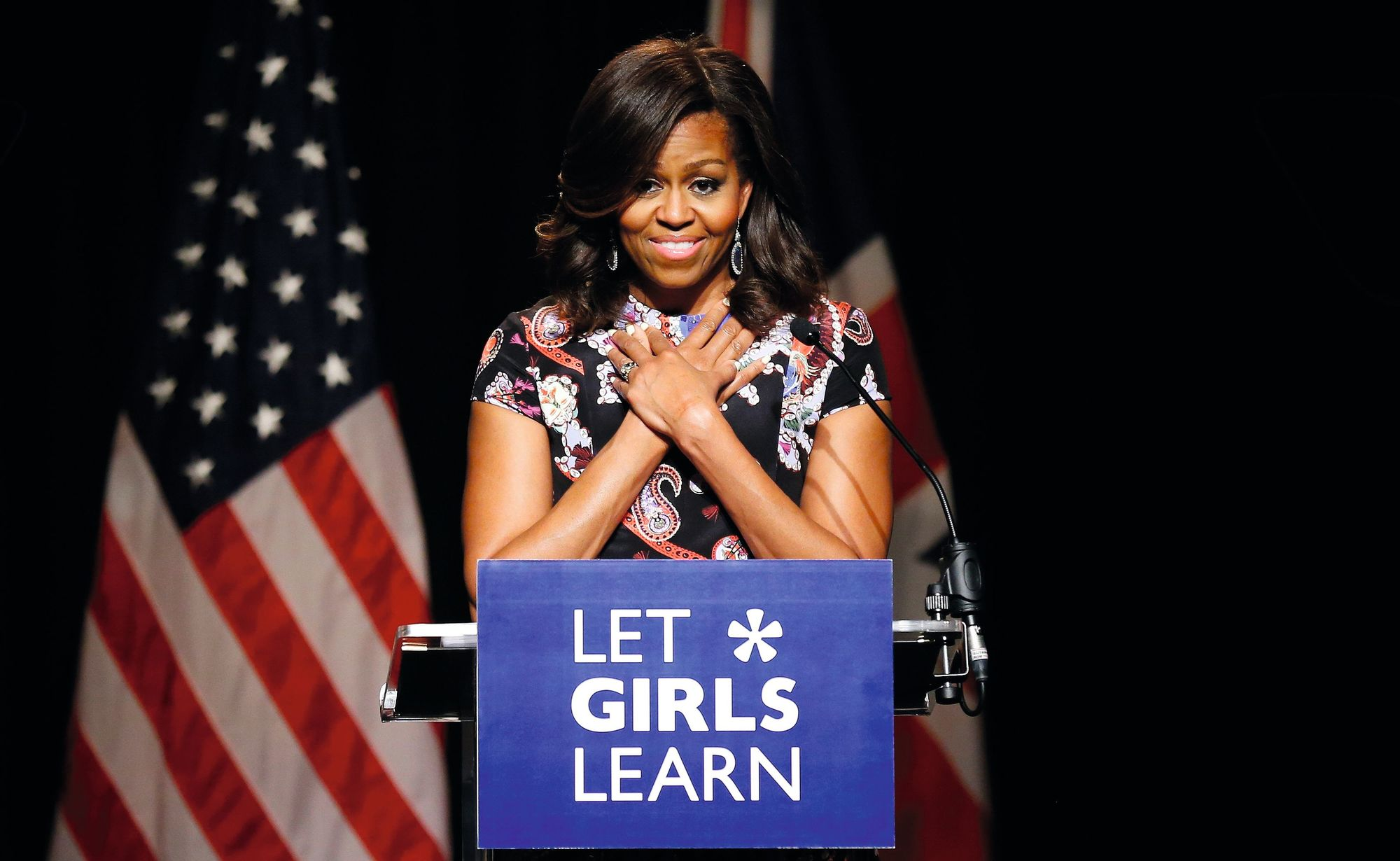 Michelle Obama, the US First Lady from 2009 to 2017 delivers a speech to promote education for girls, 2015
