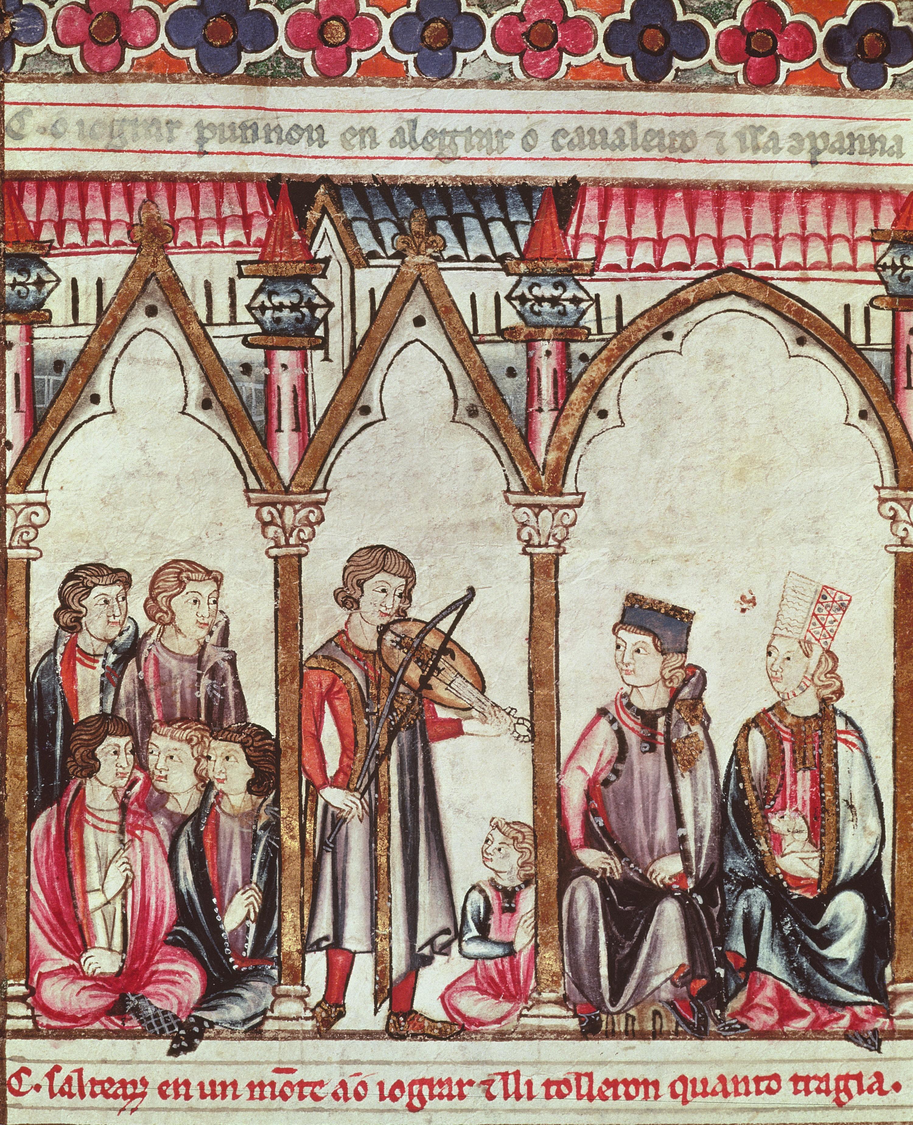 Groupe de troubadours, Cantiques de Sainte Marie, XIIIe siècle, enluminure.