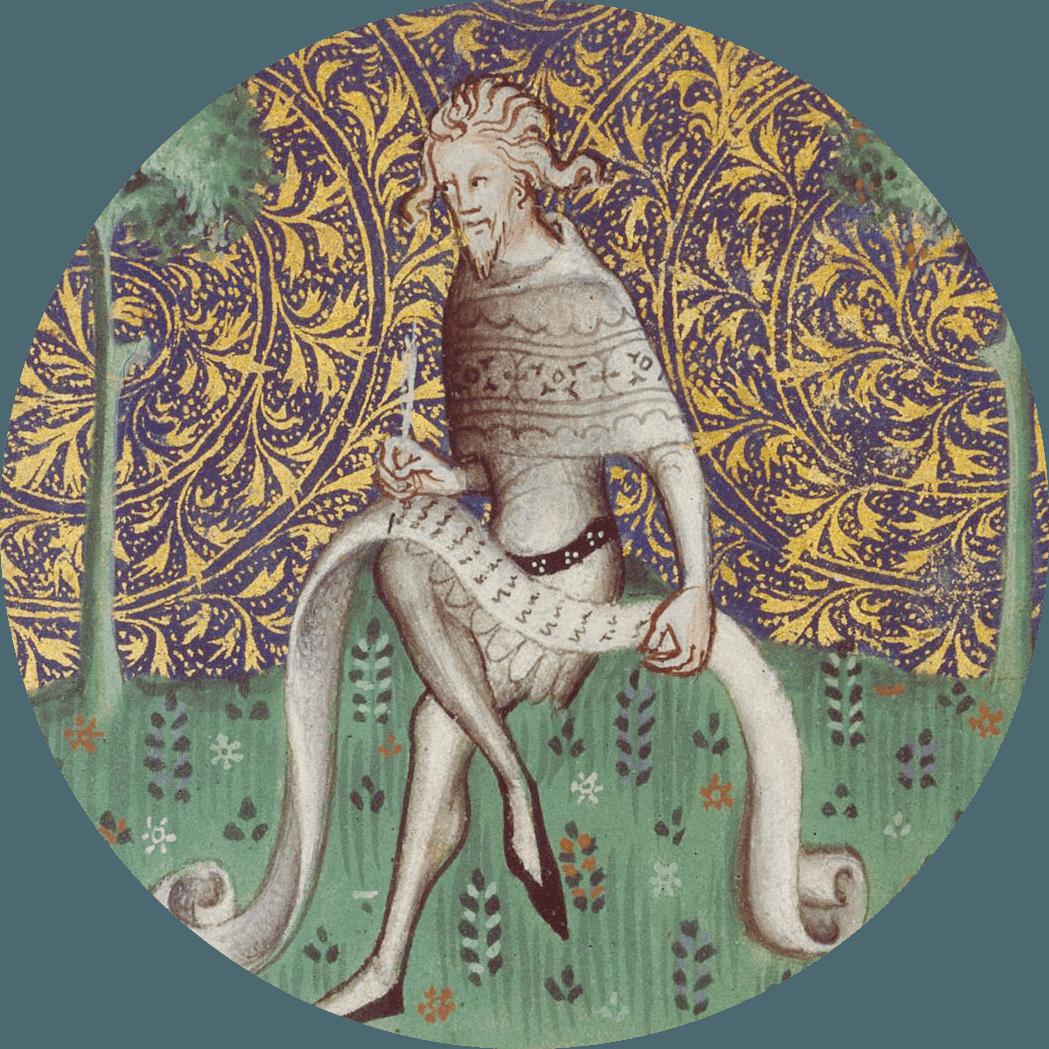 Parchemin Machaut ecrivant, XIVe siècle.