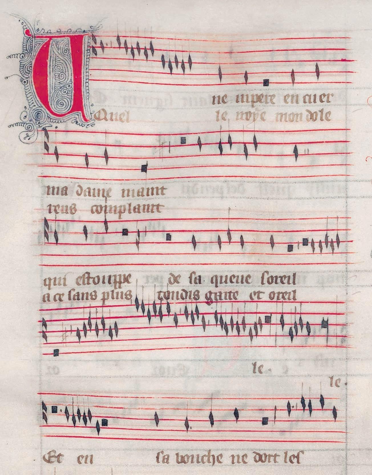 Guillaume de Machaut, partition manuscrite de la ballade « Une vipere en cuer madame meint », Nouveaux dits amoureux, XIVe siècle.