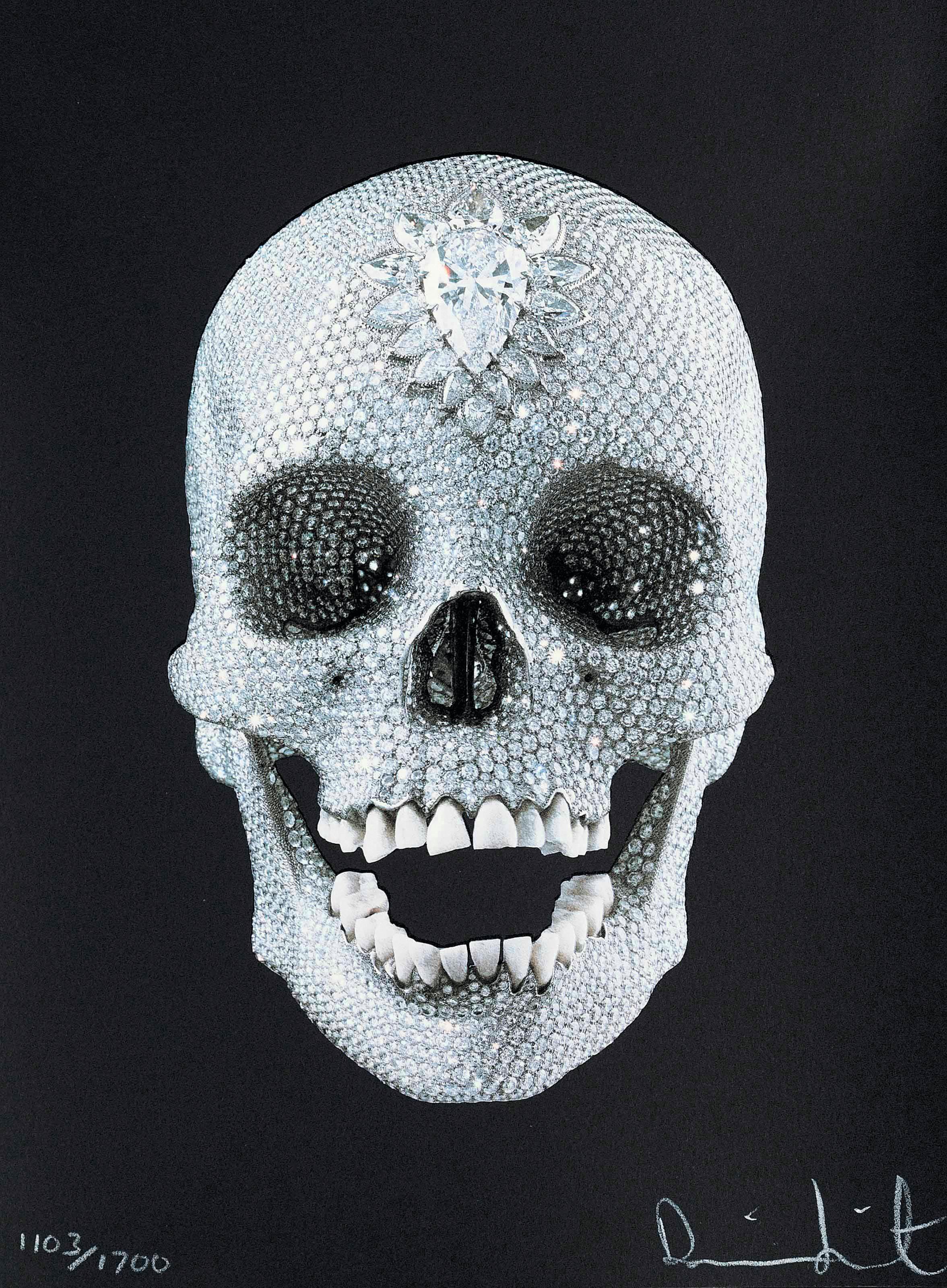 Damien Hirst, For the love of god, 2007, réplique d'un crâne humain, incrusté de diamants.