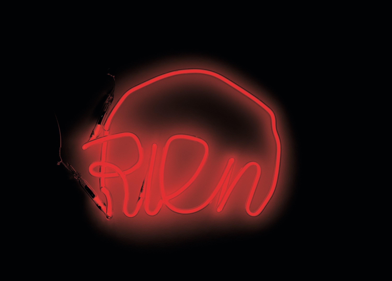 Jean-Michel Alberola, Rien, 1995, installation néon et plexiglas, Fondation Cartier pour l'art contemporain, Paris.