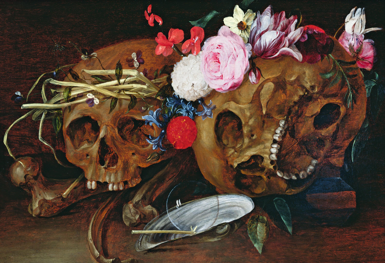 Nicolaes van Veerendael, Vanité, vers 1680, huile sur bois, musée des Beaux-Arts de Caen.