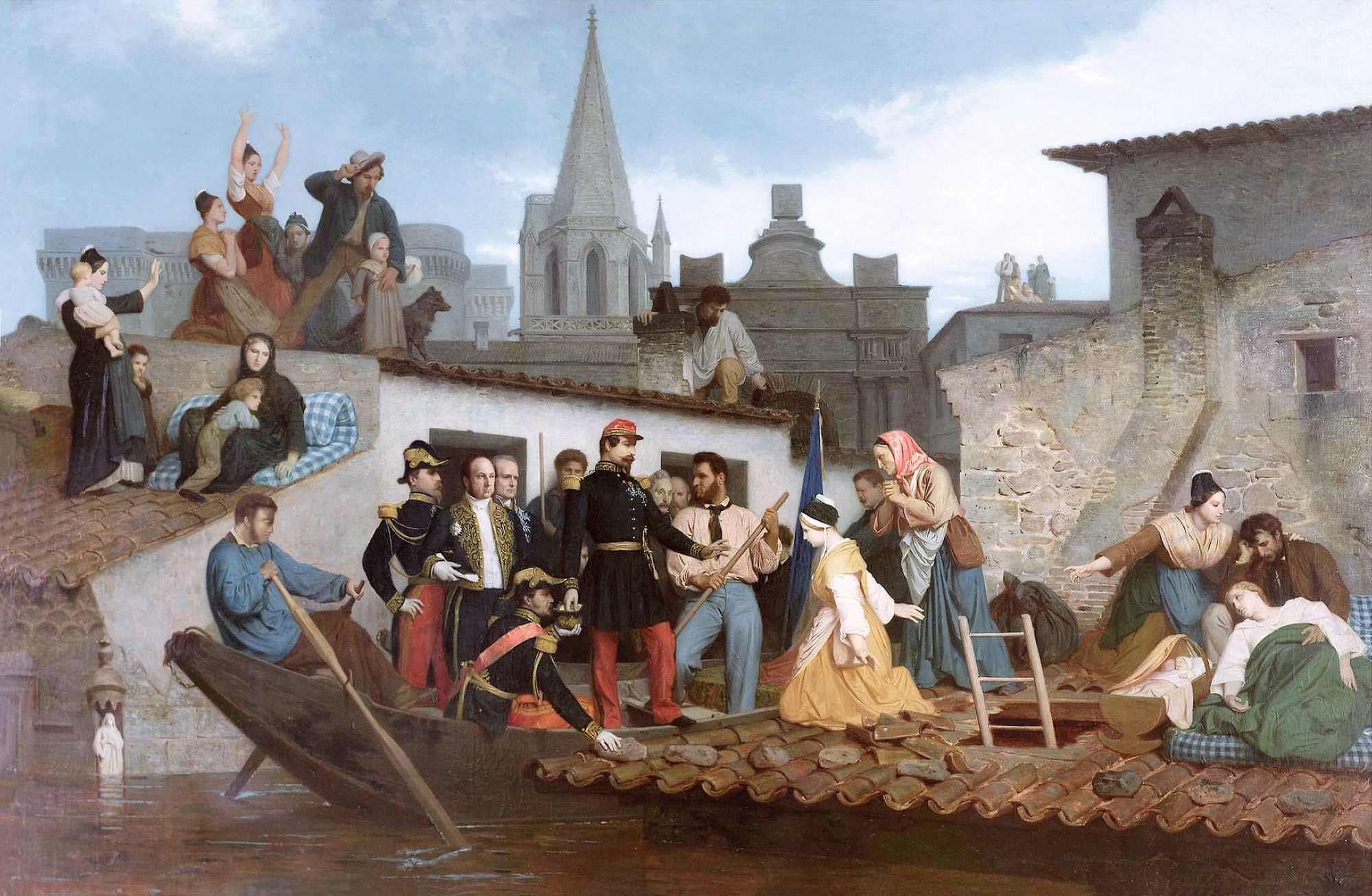 William Bouguereau, Napoléon III visitant les inondations de Tarascon, 1856