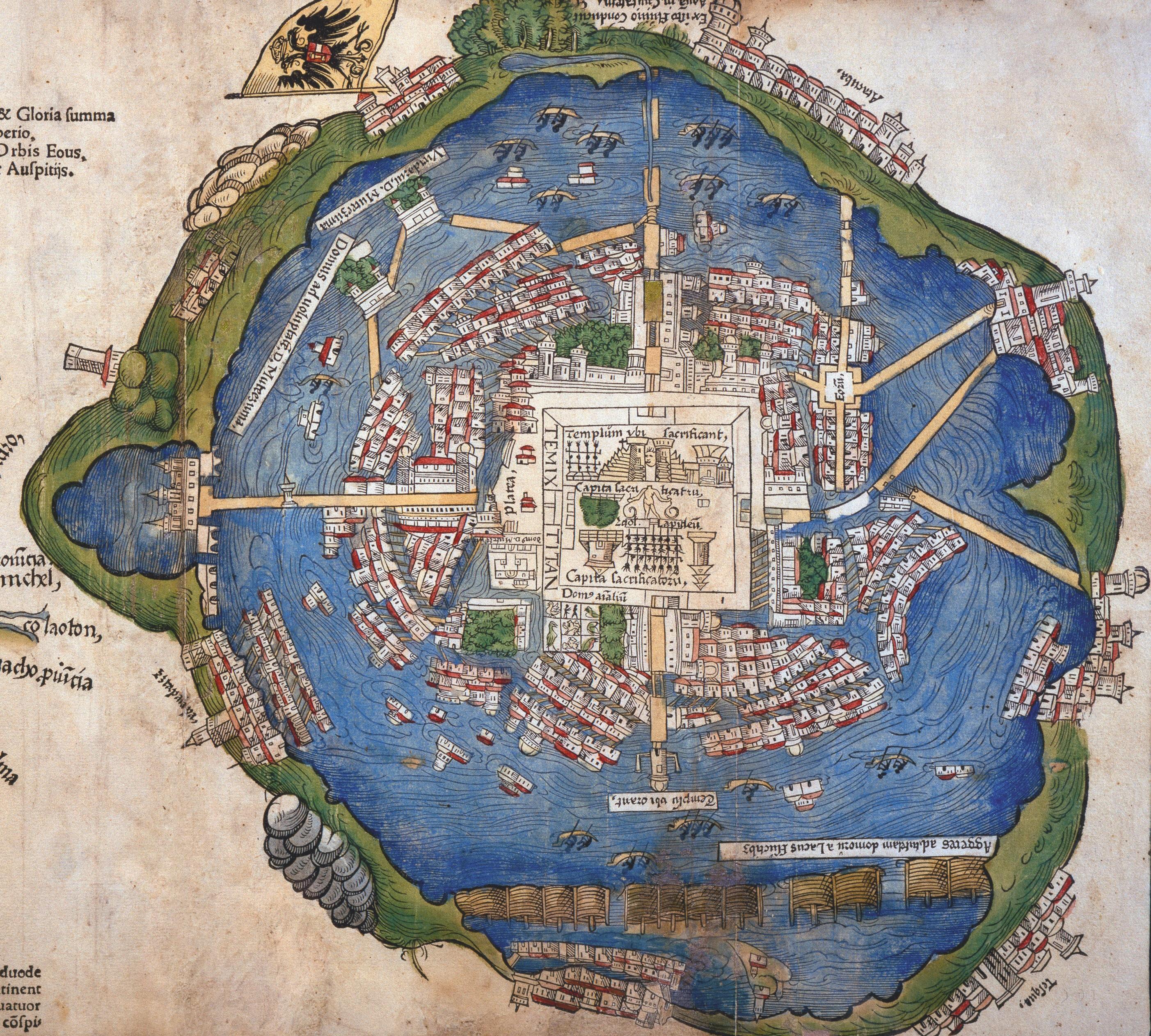 Plan de Tenochtitlan, 1524, gravure colorée à la main (détail), d'après la carte envoyée par Cortès à Charles Quint, imprimée à Nuremberg
