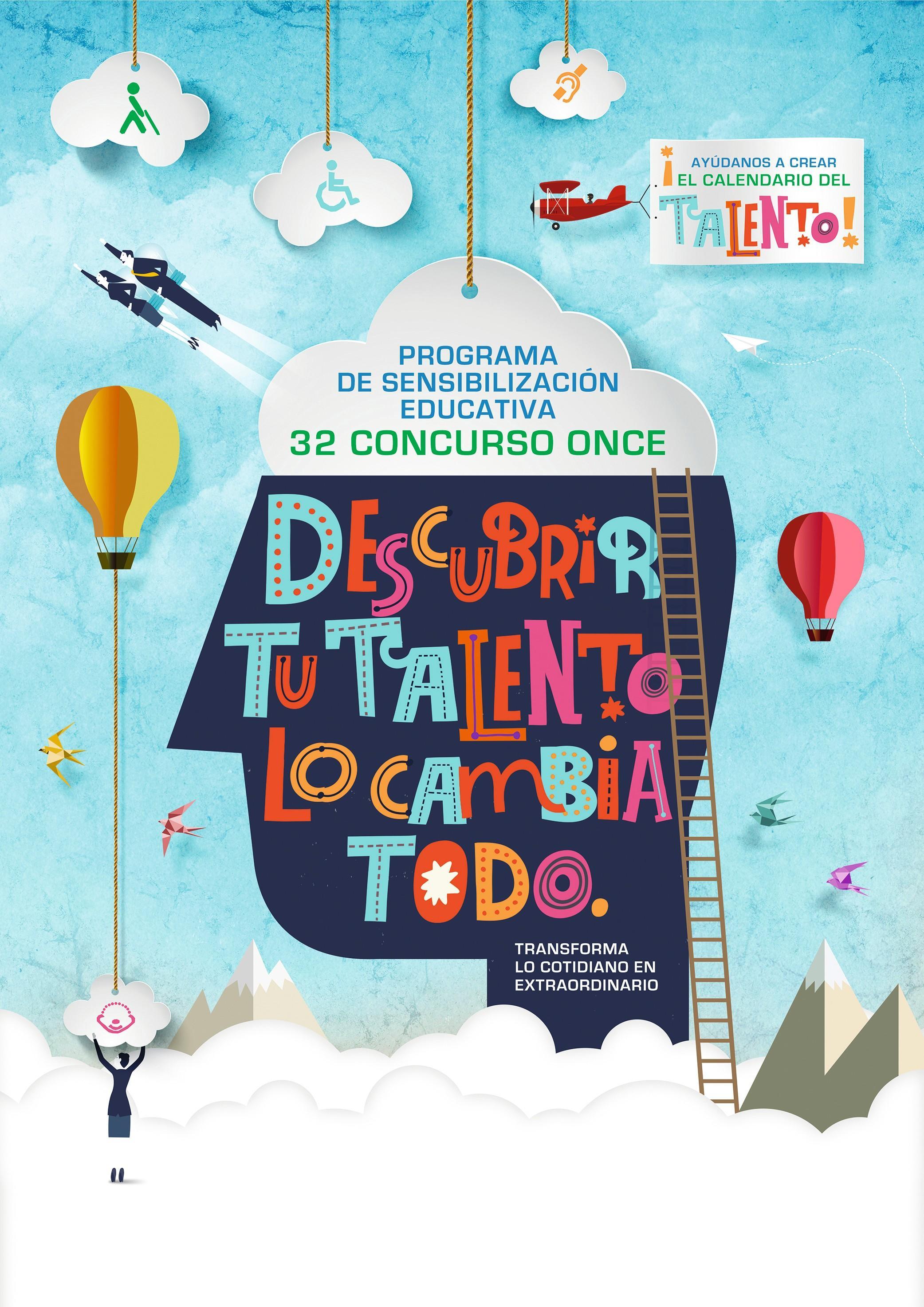 Cartel del 32 concurso escolar de la ONCE, Programa de sensibilización educativa, 2018