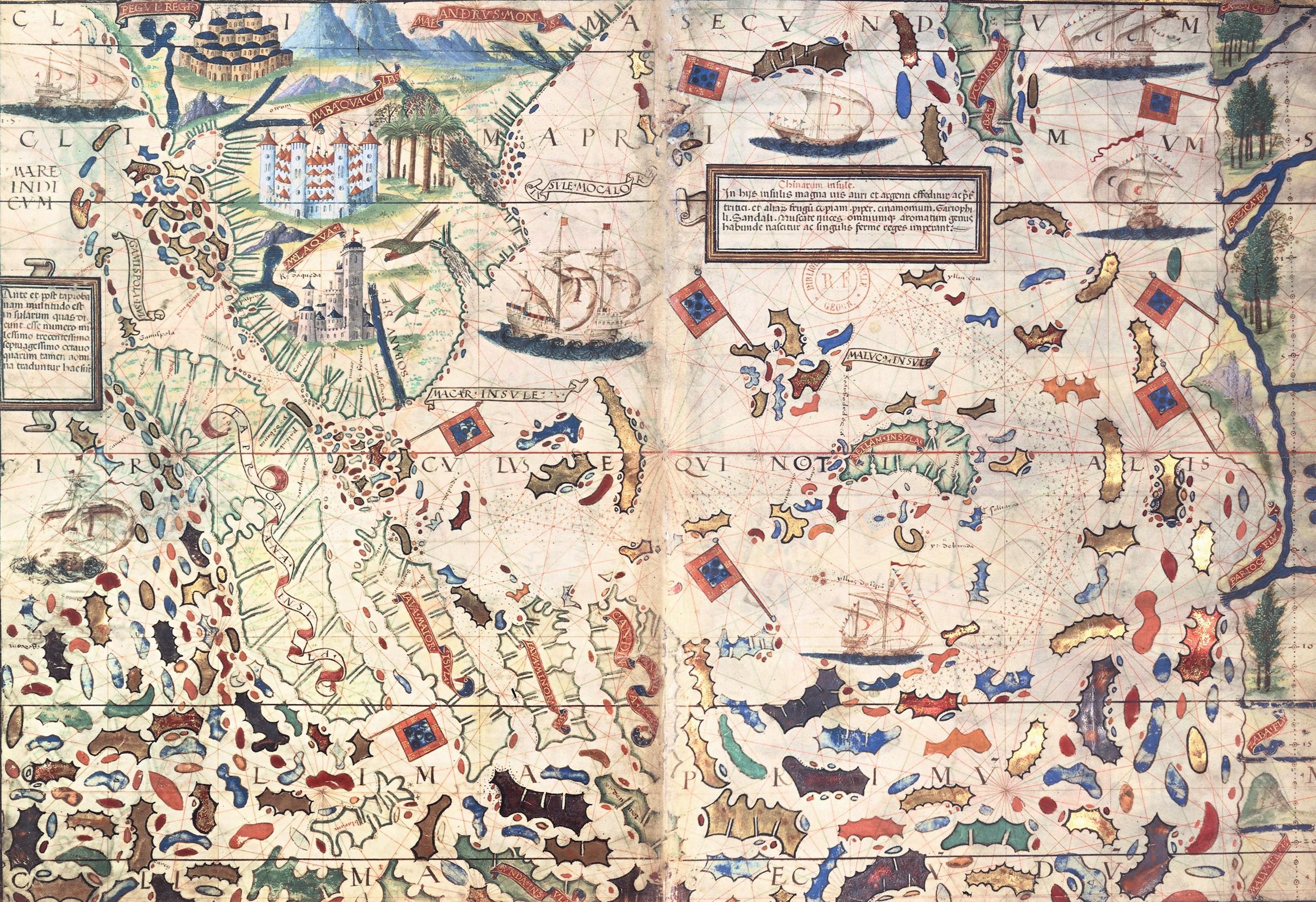 Carte de l'océan Indien et des « îles à épices », Atlas Miller, 1519, BnF, Paris