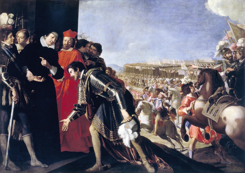 Anastasio Fontebuoni, L'ambassadeur toscan Orsini est reçu par la reine mère Catherine de Médicis, 1624‑1628, huile sur toile, 179 x 245 cm, Sotheby's, Londres