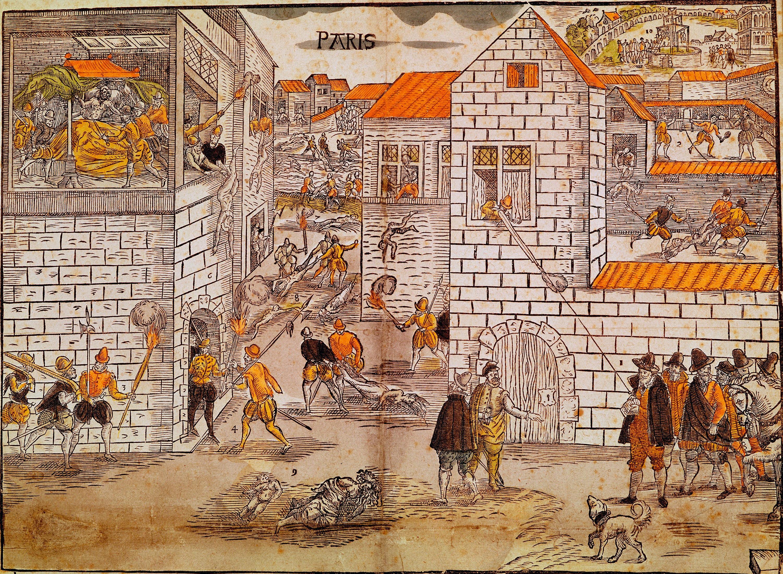 Anonyme, Massacre de la Saint-Barthélemy, estampe en couleur, XVIe siècle