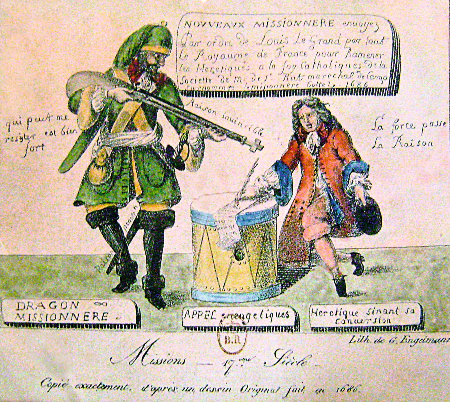 « Nouveaux missionnaires envoyés par ordre de Louis le Grand par tout le royaume de France pour ramener les hérétiques à la foy catholique », gravure protestante, v. 1683, musée de la Réforme protestante, Genève