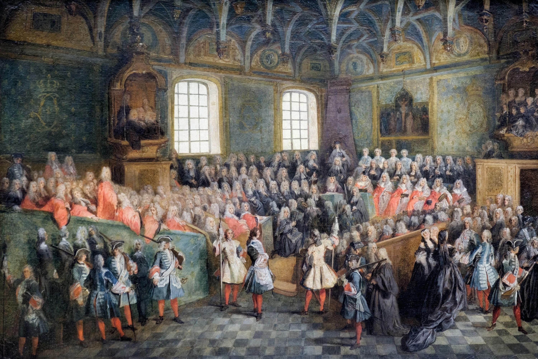 Nicolas Lancret, Lit de justice tenu par Louis XV, v. 1723, huile sur toile, 56 x 81 cm, musée du Louvre, Paris