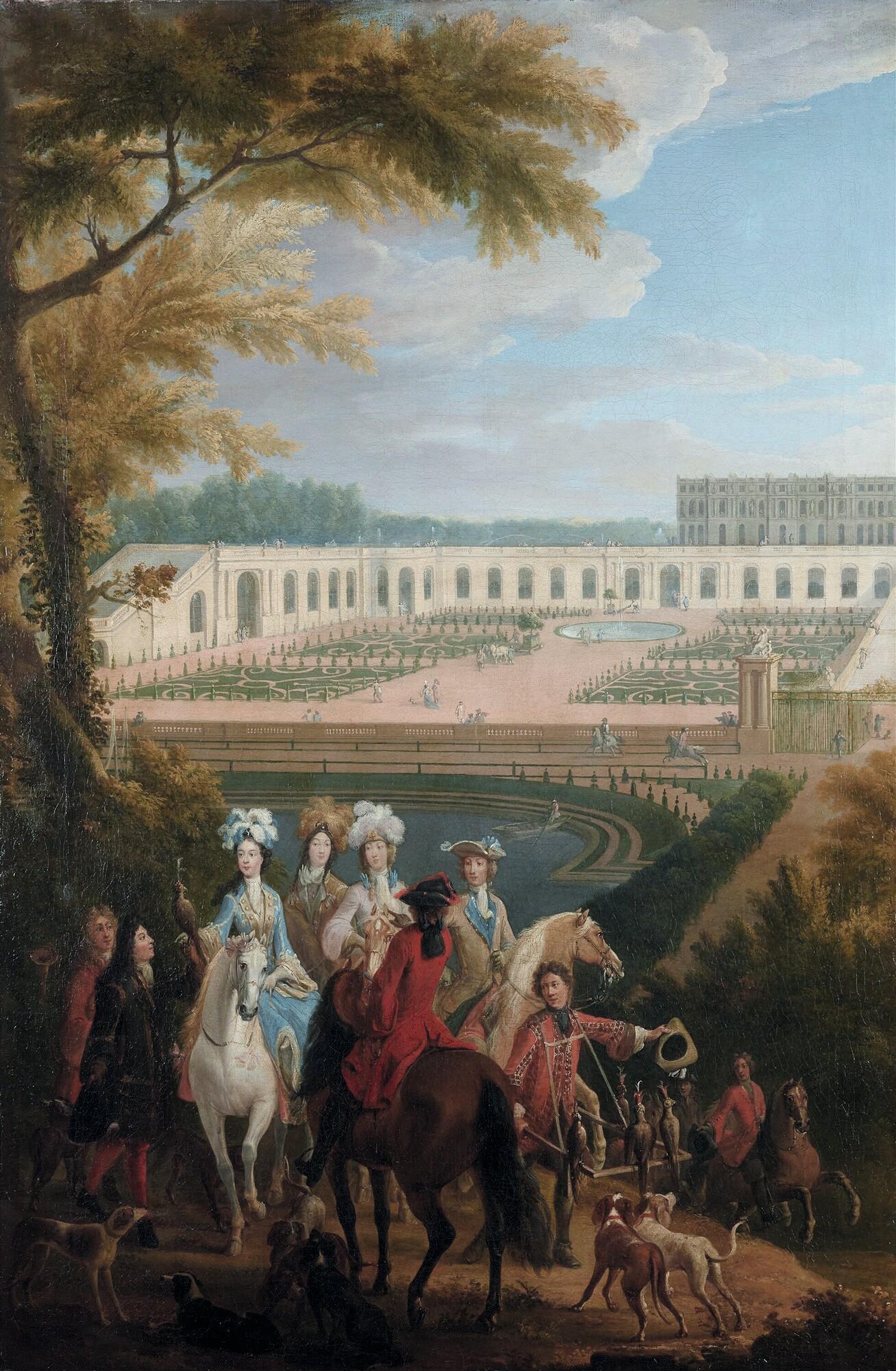 Pierre-Denis Martin, La Duchesse de Bourgogne partant chasser au faucon, v. 1780, huile sur toile, 122 x 78 cm, château de Versailles