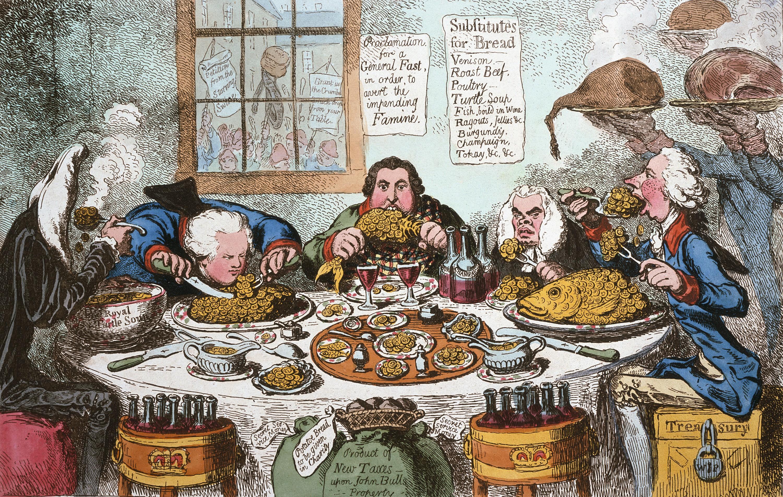 James Gillray, Les Substituts du pain, 1795, gravure colorée, British Museum, Londres.