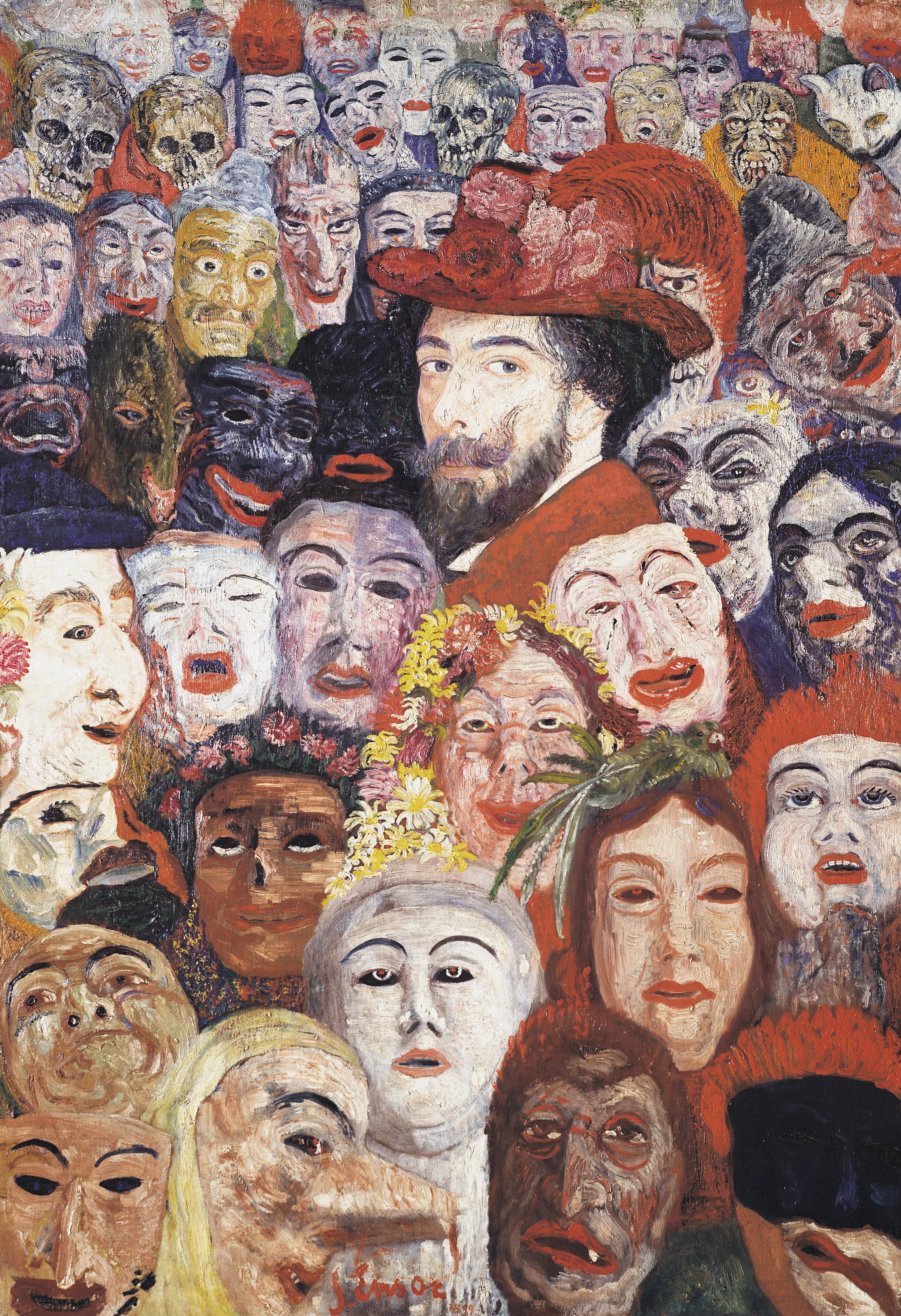 James Ensor, Mon portrait entouré de masques, 1899, huile sur toile, Menard Art Museum, Kamoki, Japon.