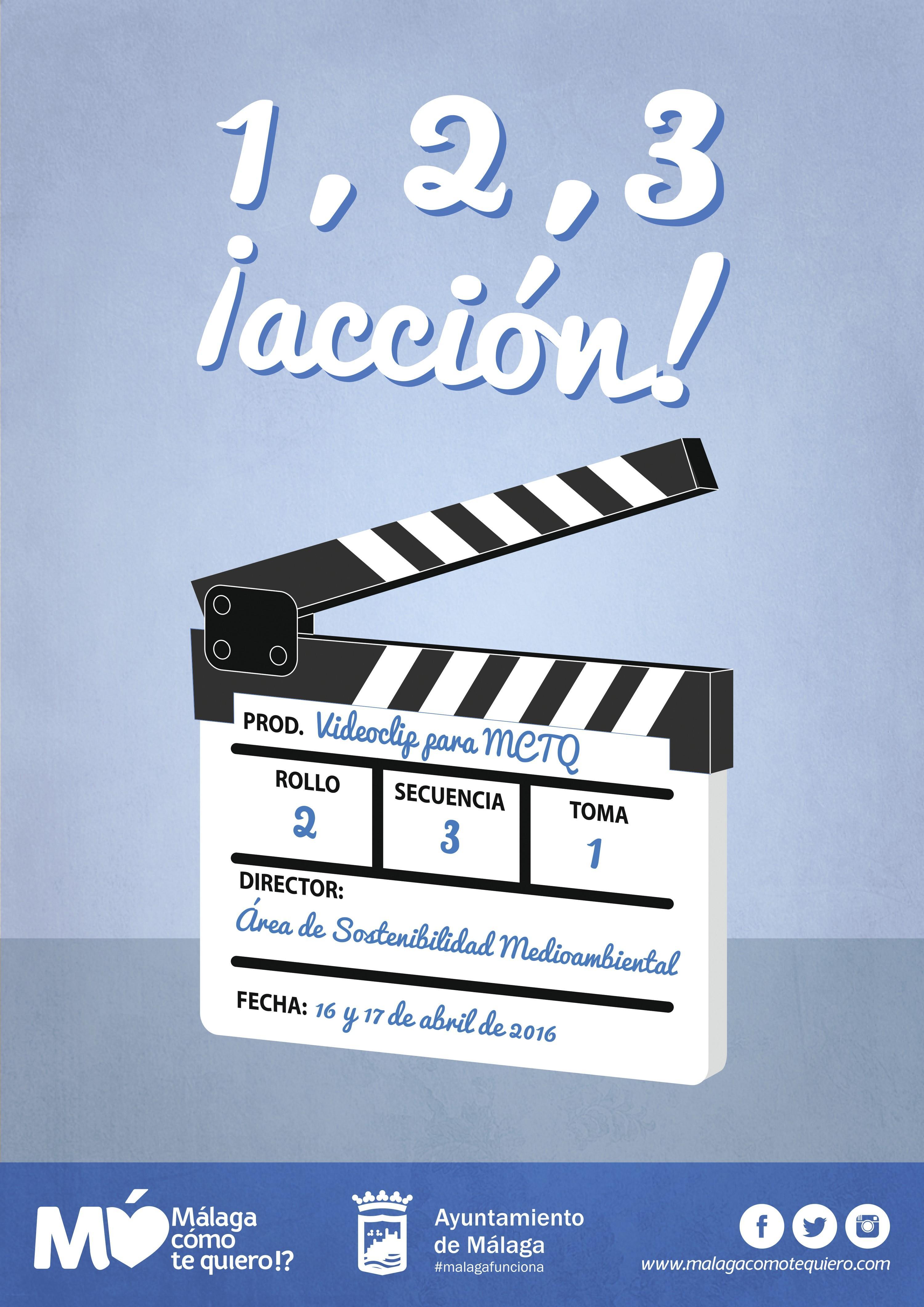 Cartel del ayuntamiento de Málaga para el rodaje de un videoclip, 2016.