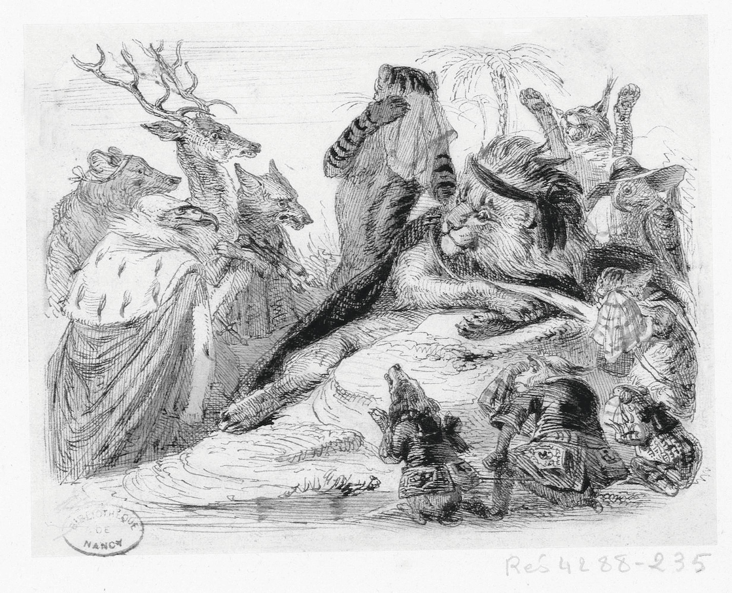 Jean-Jacques Grandville, Les Obsèques de la lionne, 1837 - 1838, gravure, Bibliothèque municipale de Nancy.