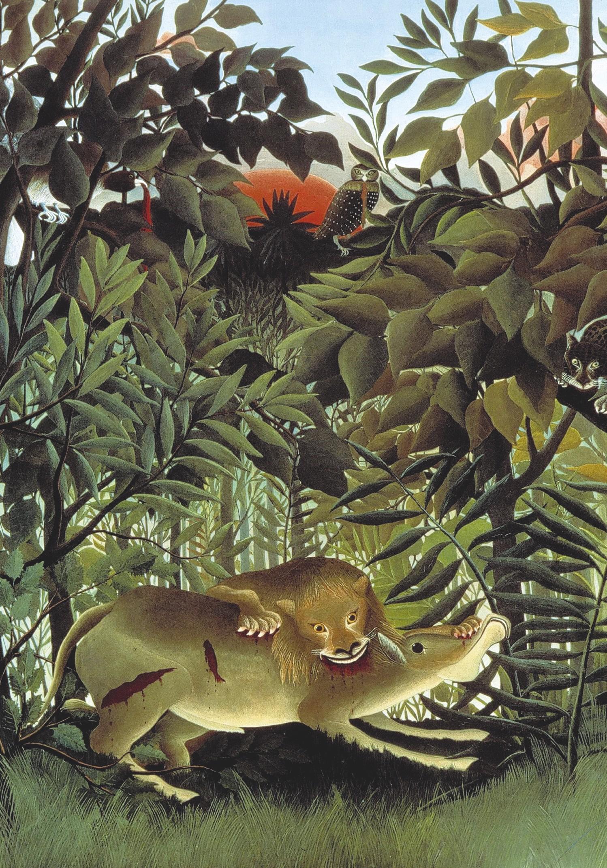 Henri Rousseau, Le lion, ayant faim, se jette sur l'antilope (détail), 1905, huile sur toile, Fondation Beyeler, Bâle, Suisse.