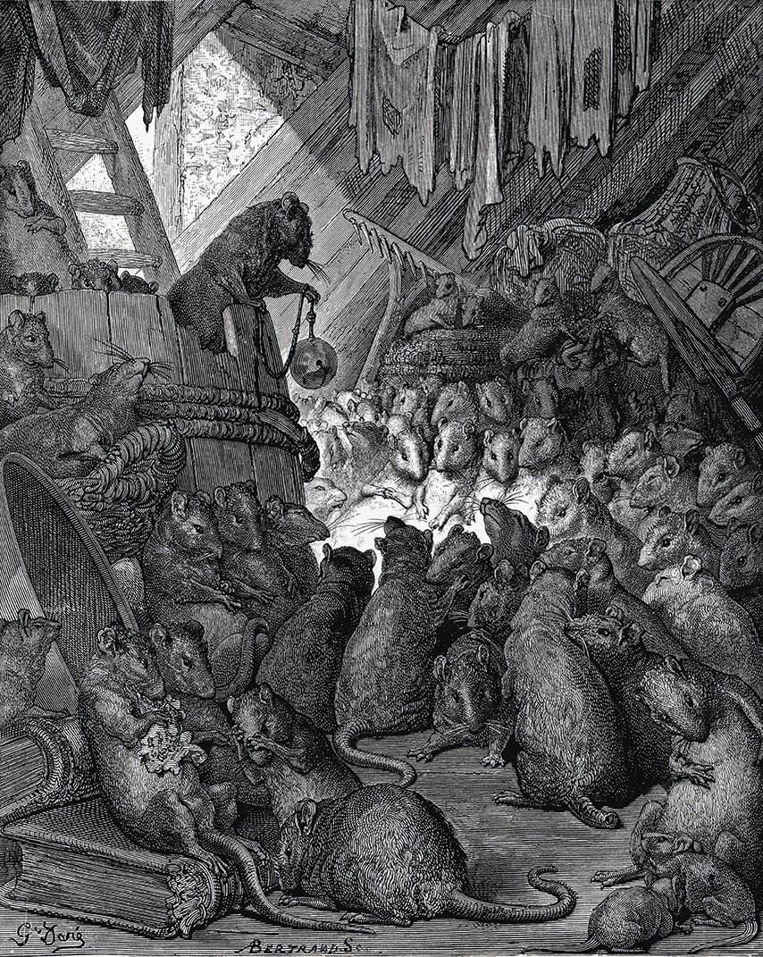Gustave Doré, Conseil tenu par les rats, 1867, gravure, 23,5 × 19 cm, BnF.