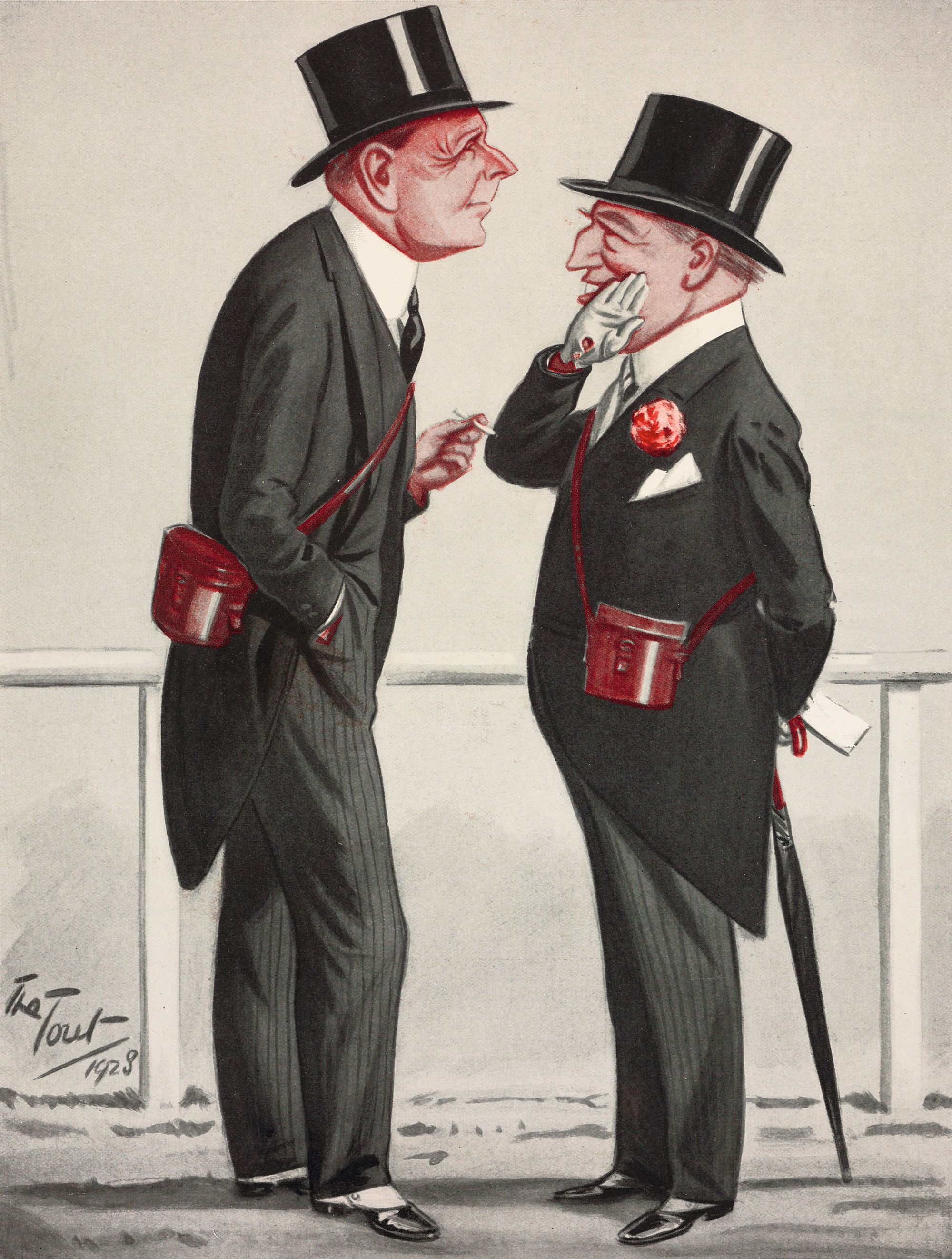 The Tout (Peter Ronald Buchanan), Sir Mathew Wilson and Sir Charles Hartopp, dessin publié dans The Tatler, le 11 juillet 1928.