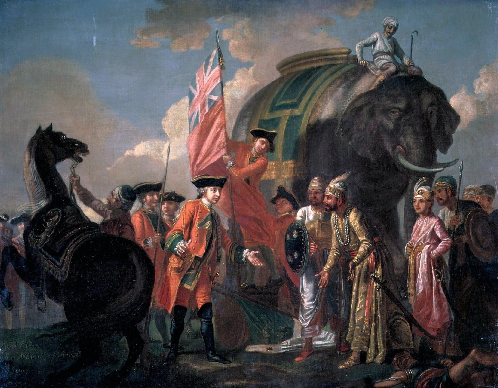Francis Hayman, Lord Clive rencontrant Mir Jafar après la bataille de Plassey, v. 1760, huile sur toile, 100 x 127 cm, National Portrait Gallery, Londres