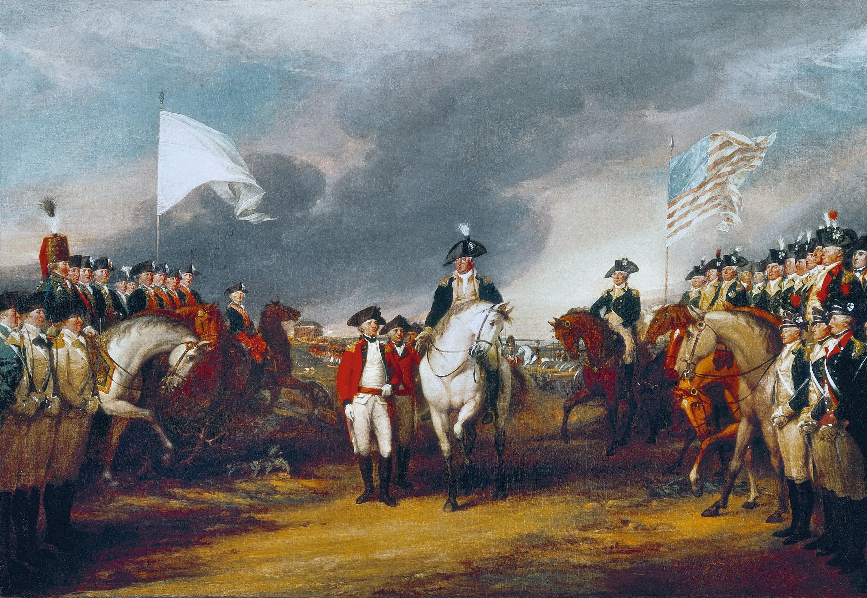 John Trumbull, La Reddition de Lord Cornwallis, 1820, huile sur toile, 365 x 548 cm, Rotonde du Capitole, Washington