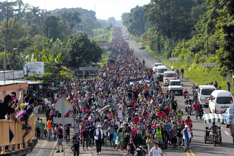 Caravana de migrantes  centroamericanos en México,  2018.