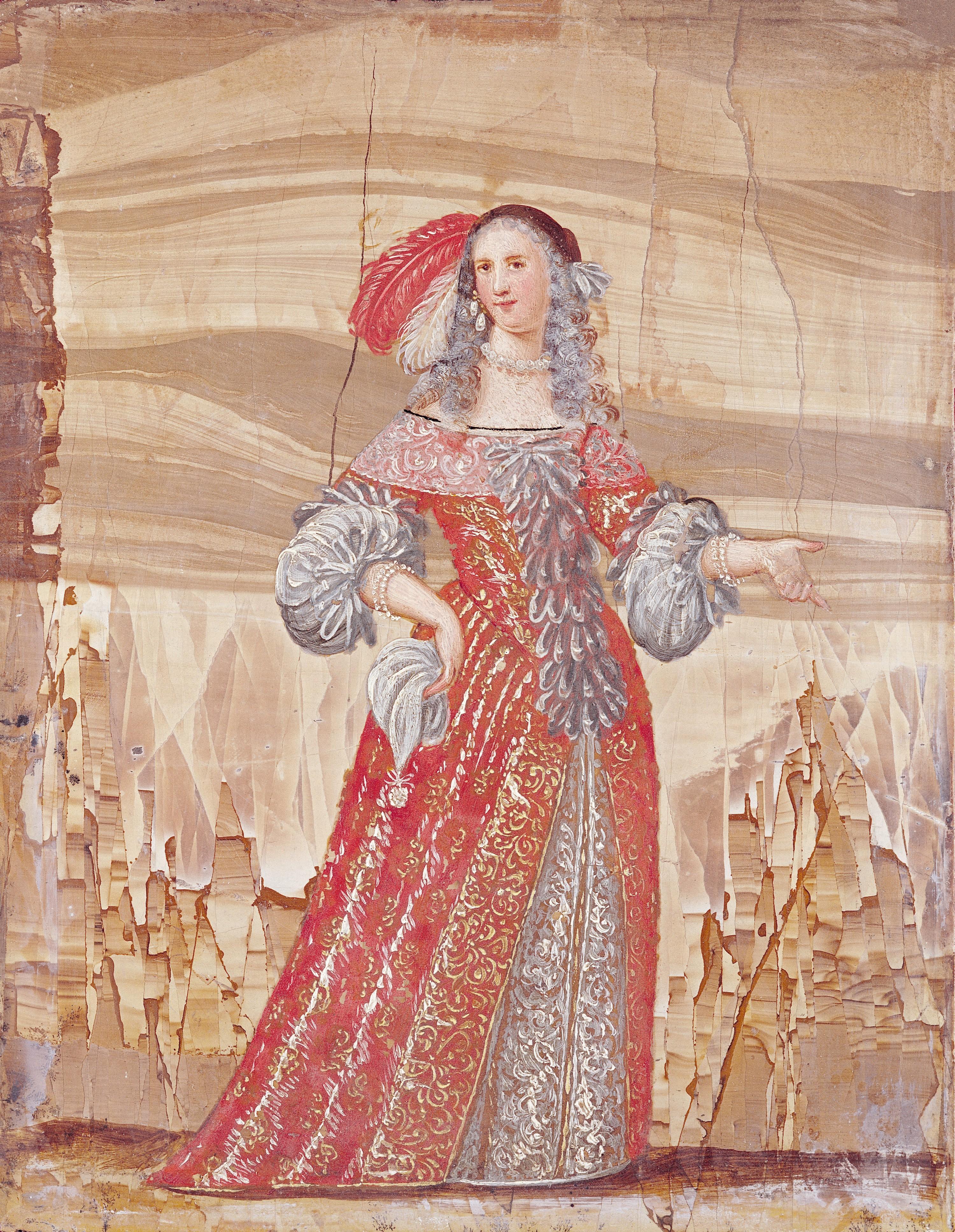 Portrait de Madeleine Béjart dans le rôle de Magdelon, dans Les Précieuses ridicules de Molière, fin du XVIIe siècle, coll. privée.