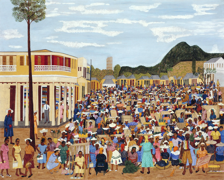 Philomé Obin, Le marché de Limbé, 1957.