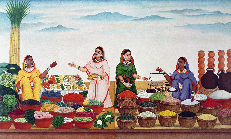 Le Marché aux épices et aux légumes, 1840.
