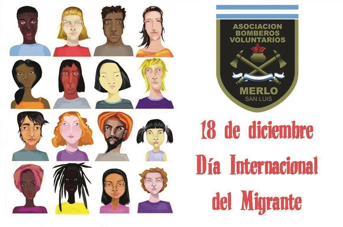 Cartel de la Asociación Bomberos Voluntarios de Merlo, San Luis, para el Día Internacional del Migrante, Argentina, 2016.