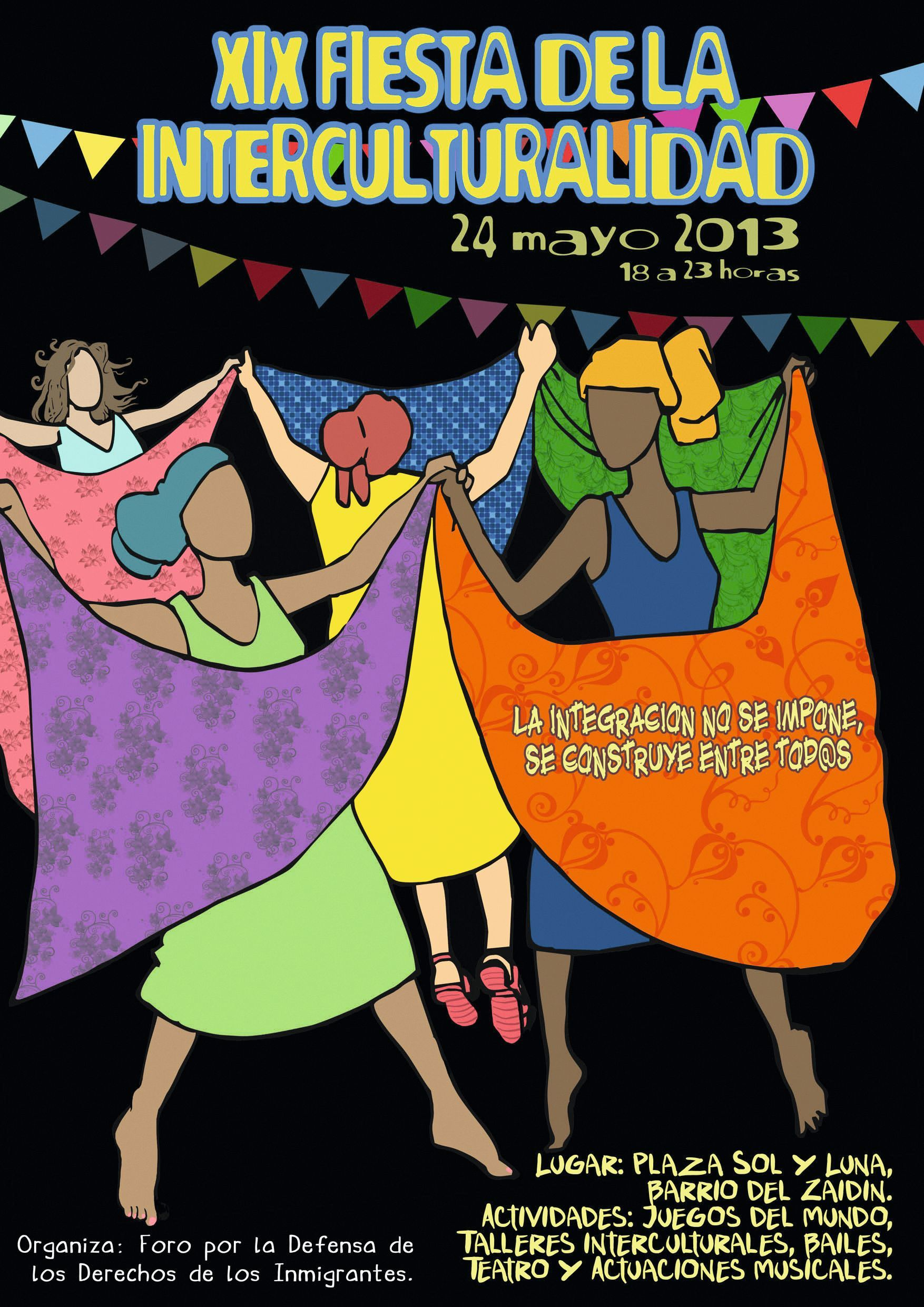 Cartel de la XIX Fiesta de la Interculturalidad en Granada, 2016.