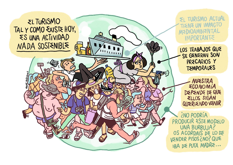 Irene Márquez, viñeta sobre la turismofobia, 2017.