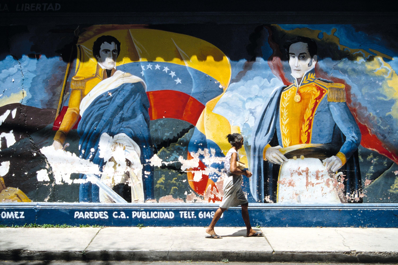 Mural de Simón Bolívar y Manuela Sáenz, Isla Margarita, 2009.