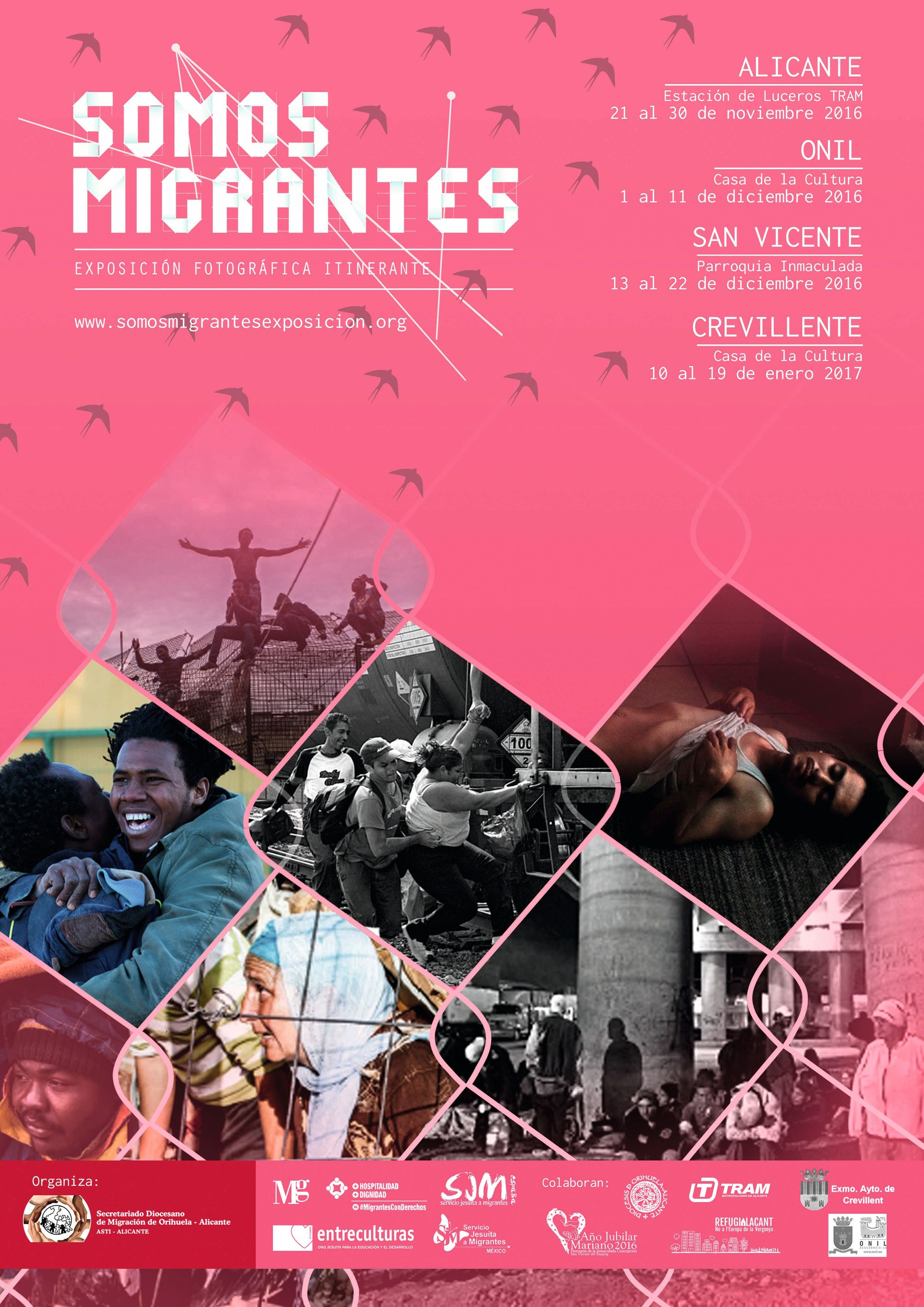 Cartel de la exposición fotográfica itinerante Somos migrantes, 2016.