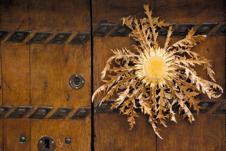 La Flor del Sol (Eguzkilore) en la puerta de una casa vasca.