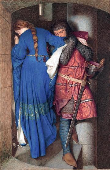 Frederic William Burton, La Rencontre dans l'escalier de la tourelle, 1864, aquarelle et gouache sur toile, Galerie nationale d'Irlande, Dublin.