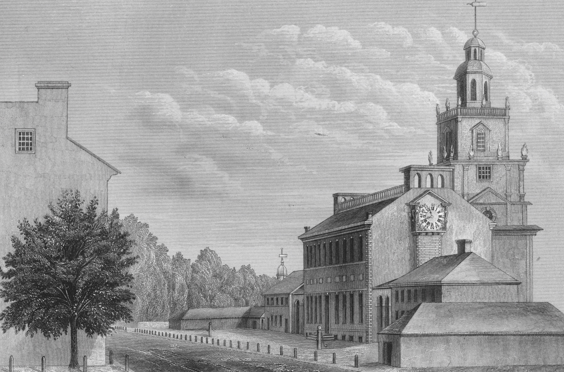 Charles Peale, State House (Philadelphie), gravure, 1876