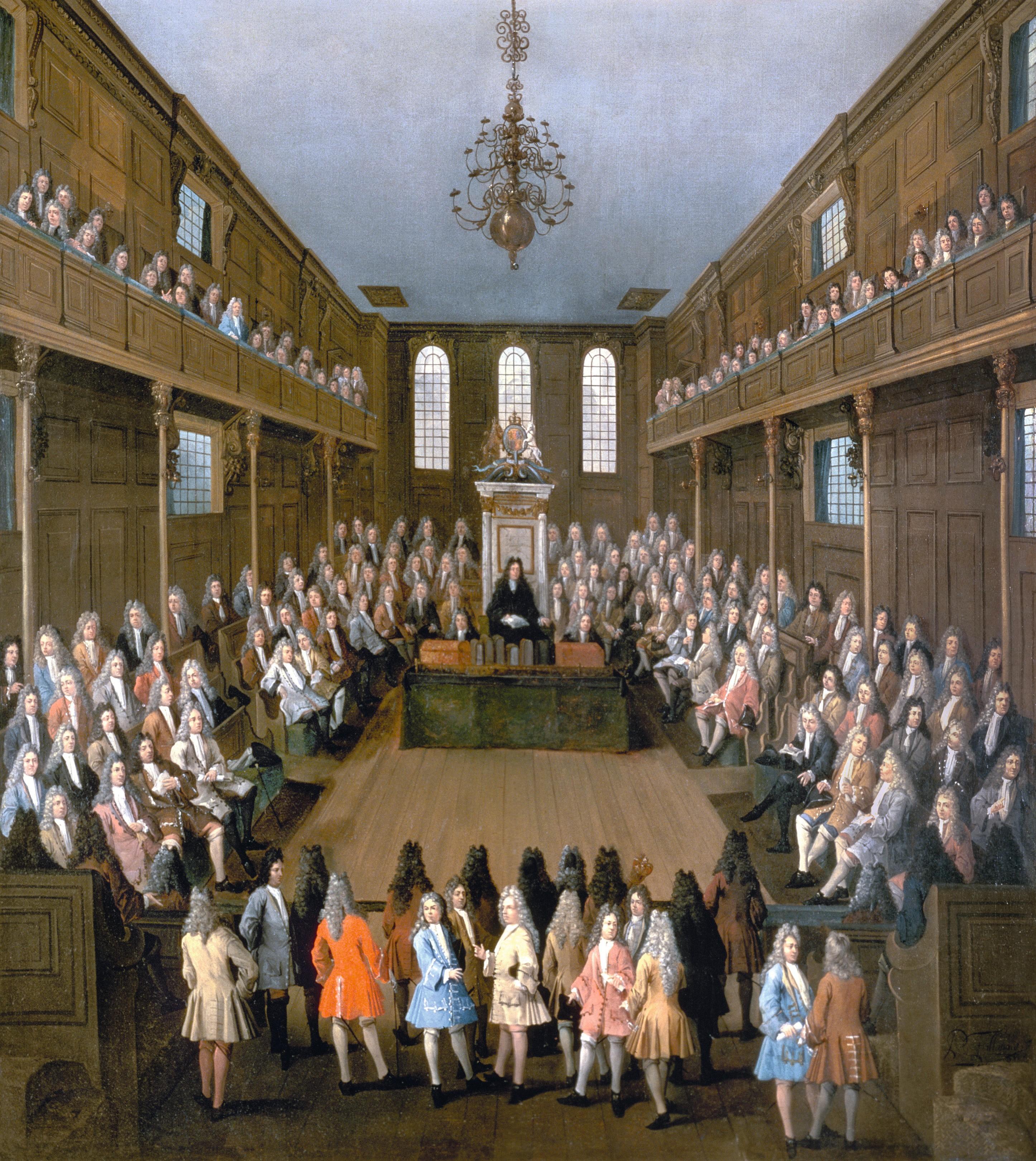 Peter Tillemans, Chambre des Communes en session, 1709, huile sur toile, 137 x 123 cm, Parlement, Londres