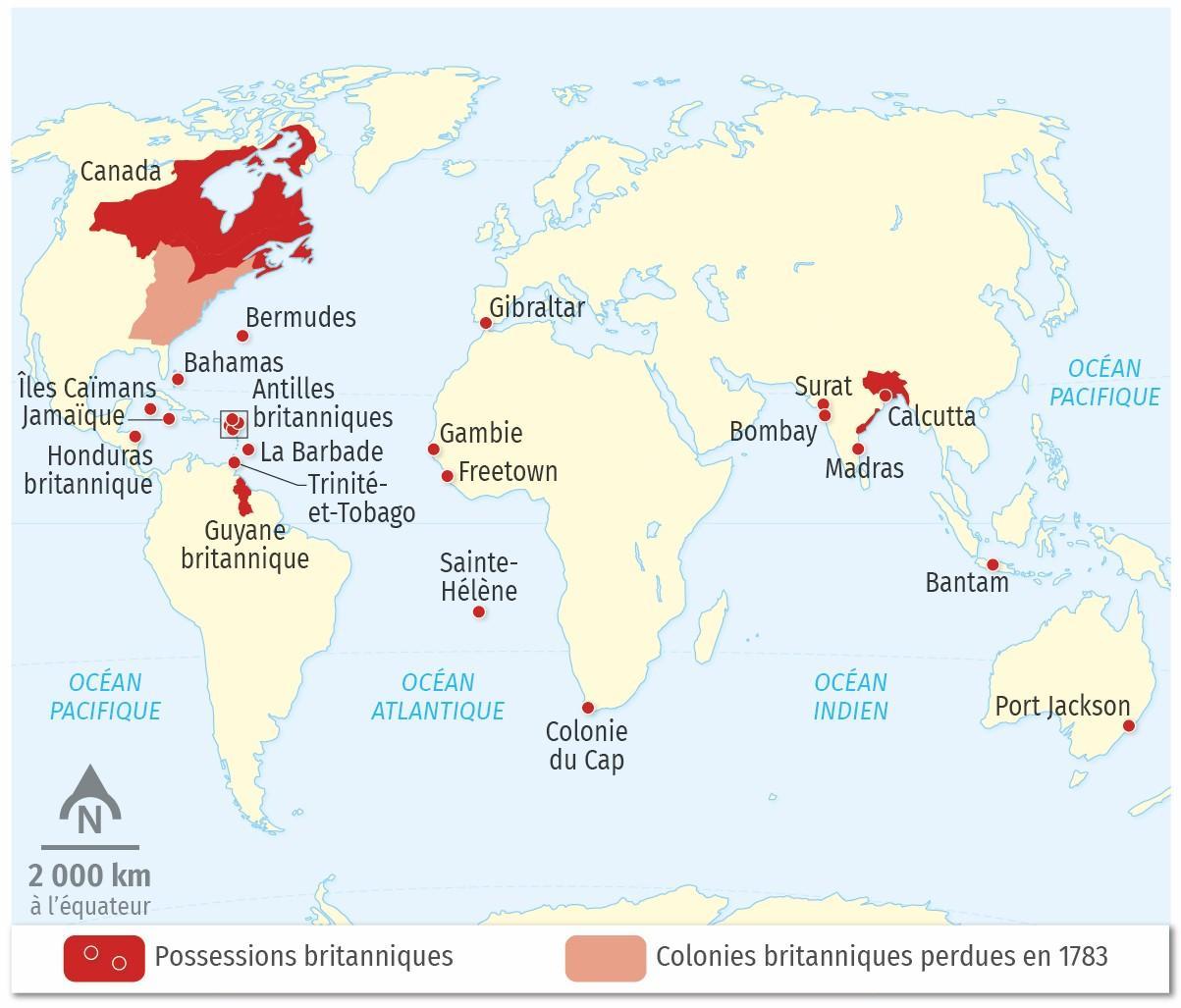 L'empire britannique à la fin du XVIIIe siècle