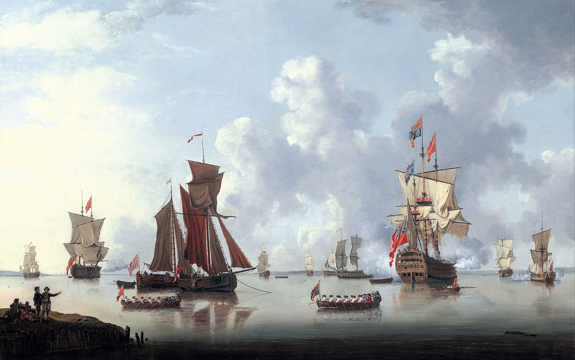 Francis Swain, Le Lancement du Sailor Prince à Spithead, 1765, huile sur toile, 10,6 x 16,7 cm, Art Gallery of South Australia, Adelaide