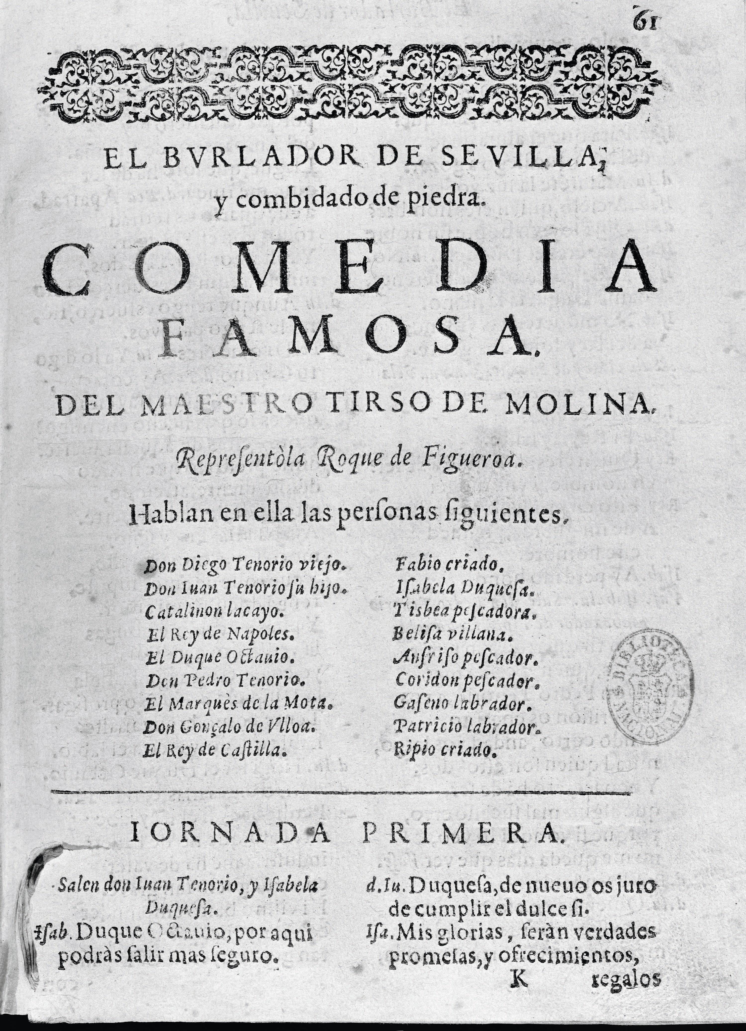Tirso de Molina, El Burlador de Sevilla, édition du XVIIe siècle, Bibliothèque nationale, Madrid.