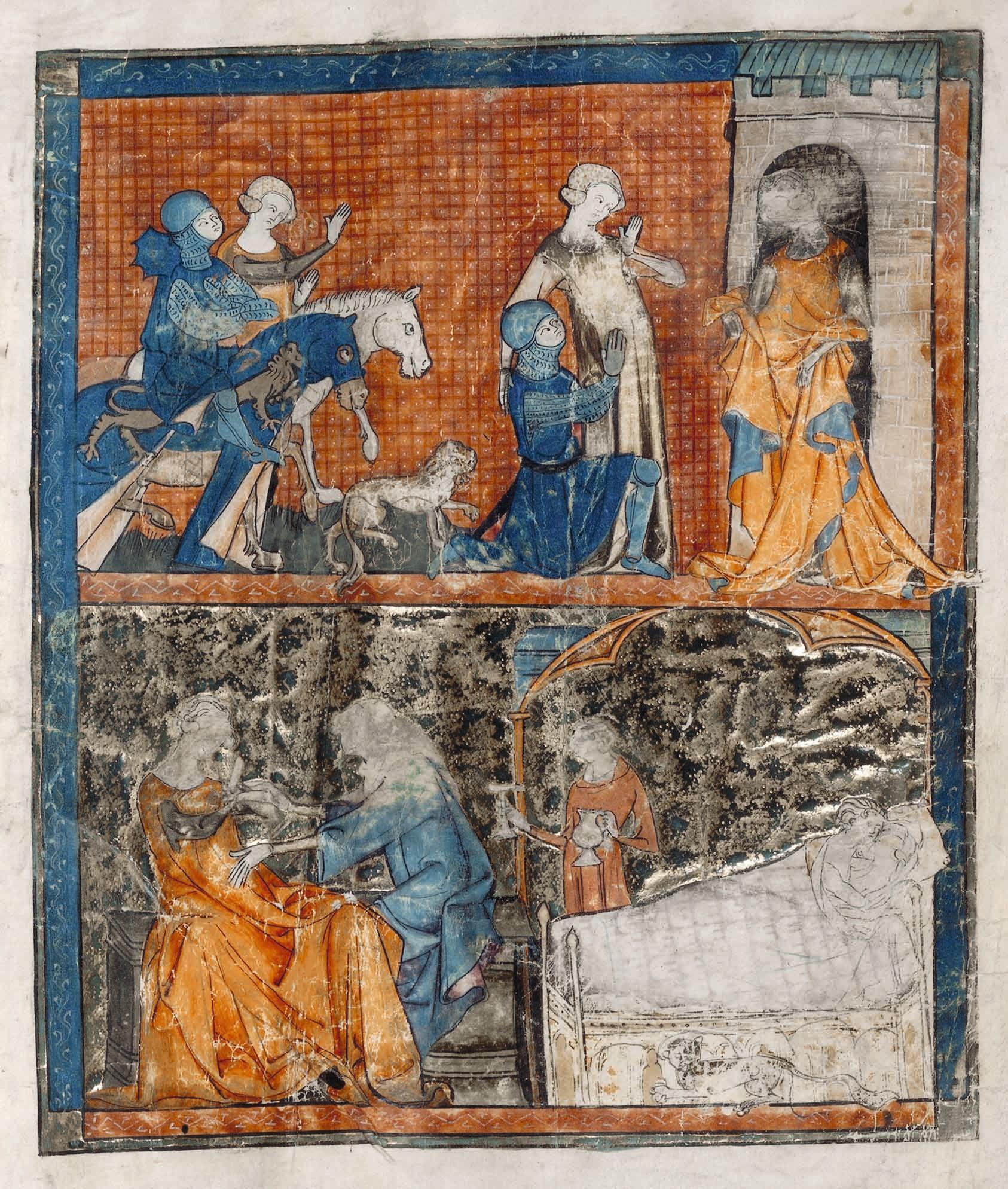 Chrétien de Troyes, Yvain ou le Chevalier au lion, 1177-1181, manuscrit copié vers 1325, BnF.