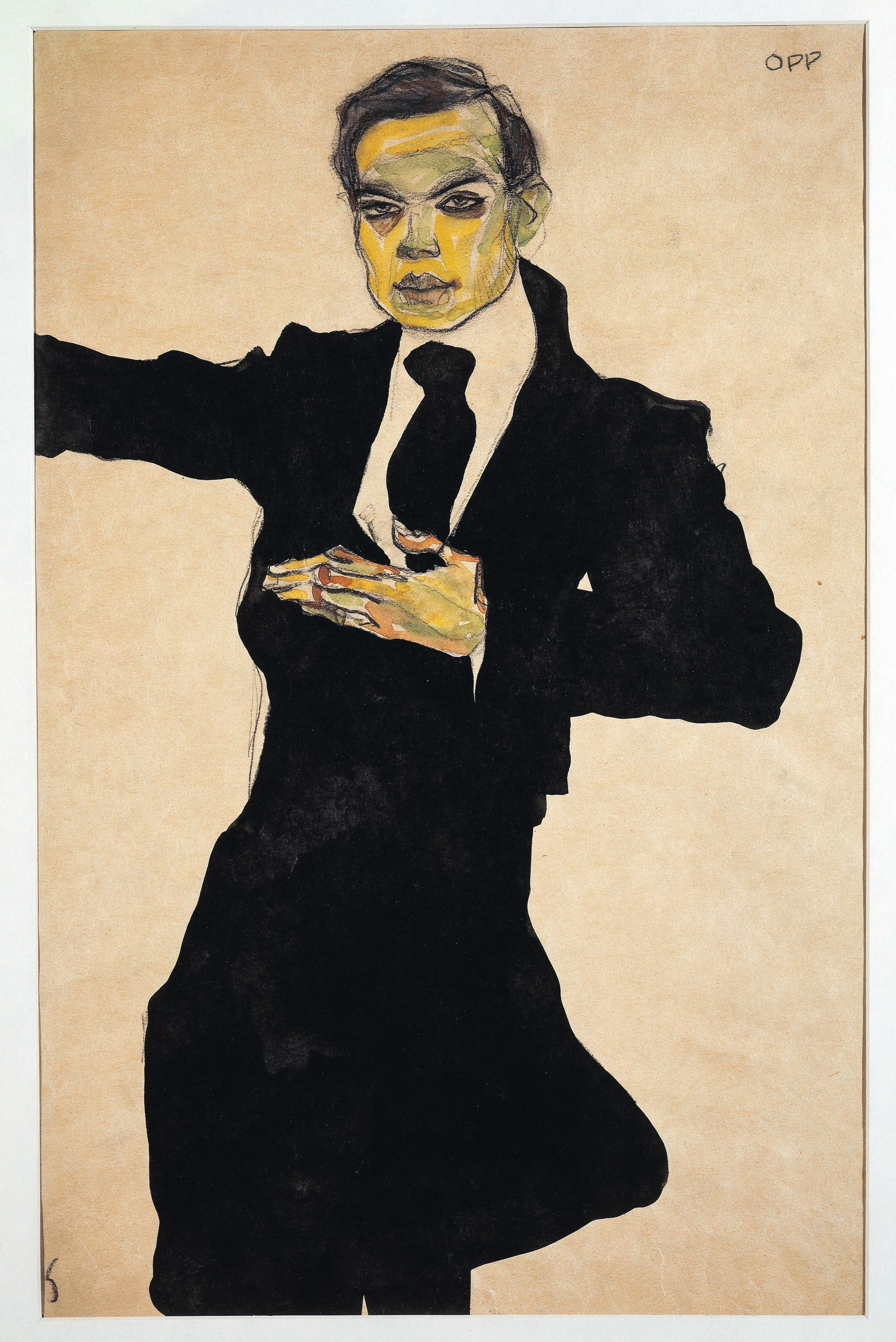 Egon Schiele, Portrait de Max Oppenheimer, 1910, crayon noir, encre et aquarelle sur papier, Graphische Sammlung Albertina, Vienne.