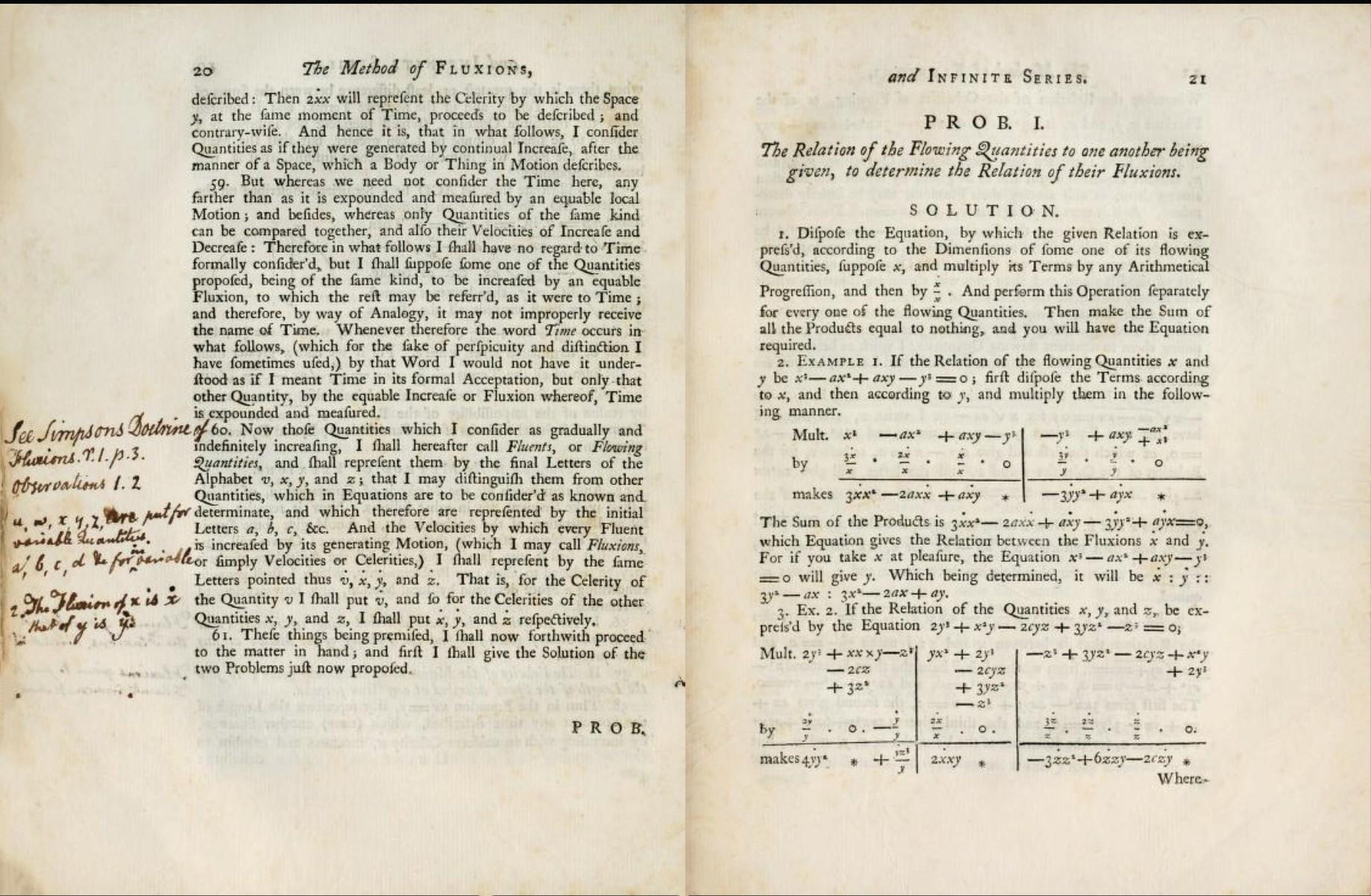 Explication de La Méthode des fluxions et des suites infinies par Newton