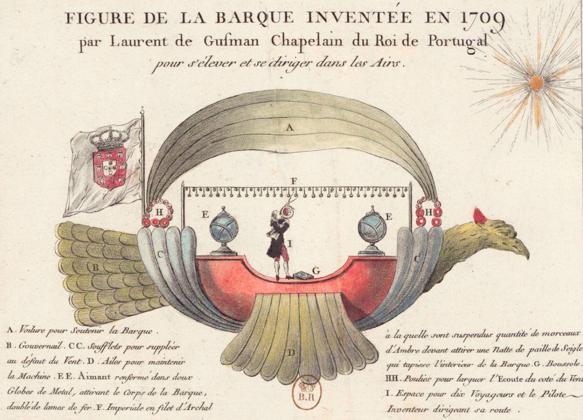 Laurent de Gusmão, Barque pour s'élever dans les airs inventée en 1709, v. 1784, estampe, 13,6 x 18,5 cm, BnF, Paris