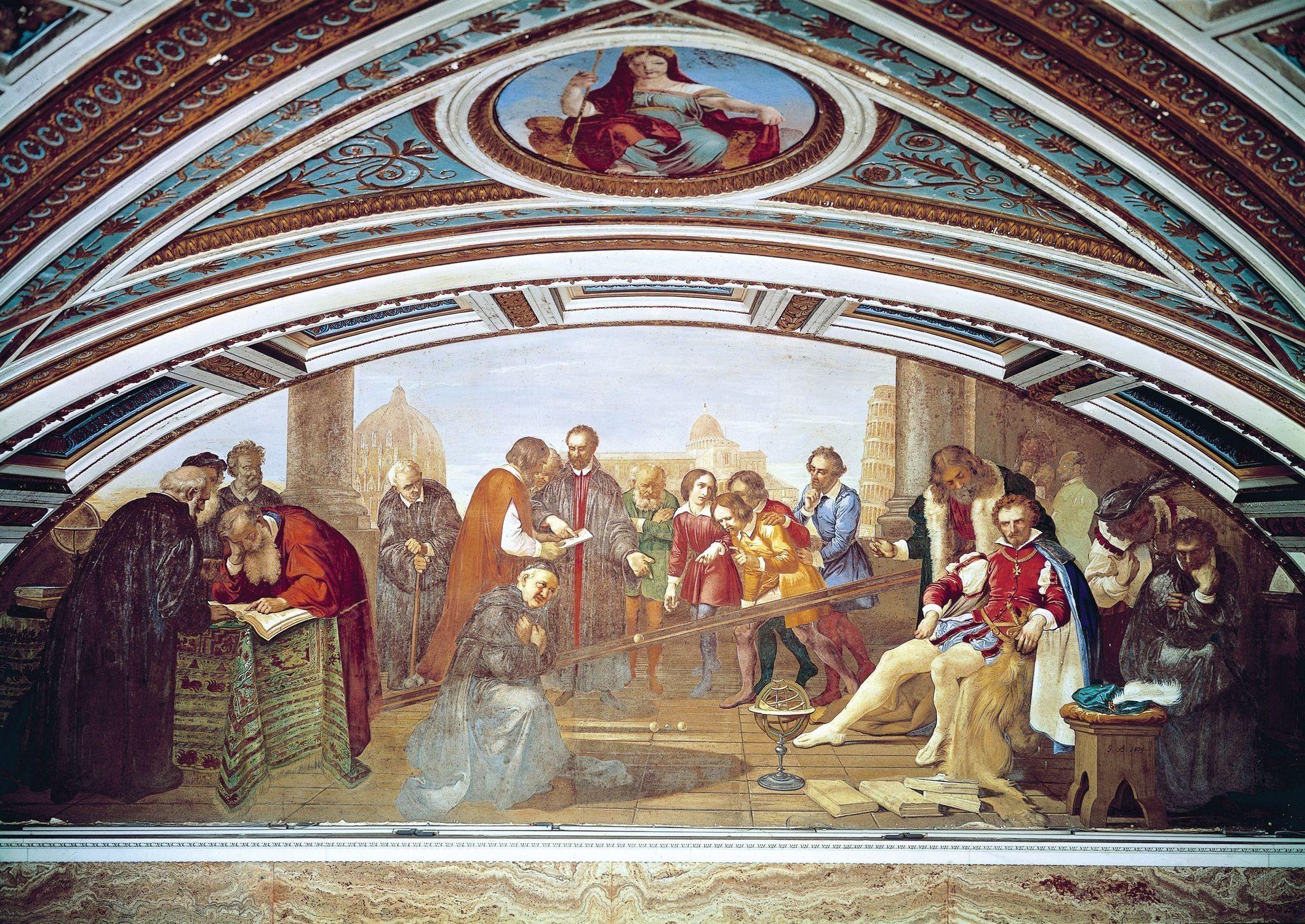 Giuseppe Bezzuoli, Galilée démontrant la loi de la chute des corps à Don Giovanni de Medici, 1843, fresque, musée zoologique La Specola, Florence.
